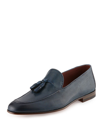 Perforated Leather Tassel Loafer, Blue