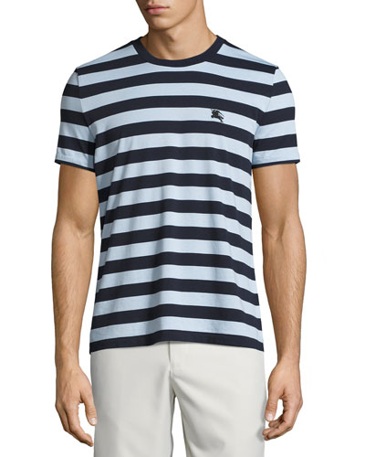 Striped Cotton Jersey T-Shirt, Navy