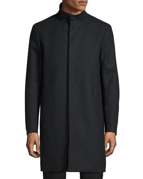 Theory Belvin Wool-Blend Car Coat, Dark Charcoal