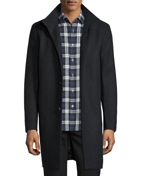 Theory Belvin Wool-Blend Car Coat, Dark Charcoal