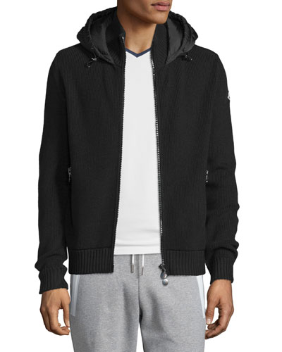 Puffer-Panel Front-Zip Sweater, Black