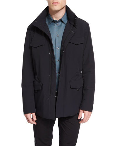 Snap-Front Field Jacket, Black