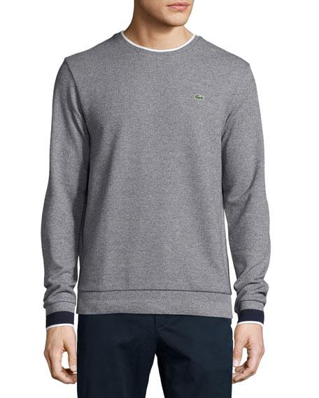 08810b2d72 Lacoste Semi-Fancy Piqué Sweatshirt, Navy Blue Mouline/Navy Blue
