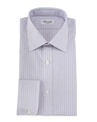 Micro-Check Barrel-Cuff Dress Shirt, Red/Blue