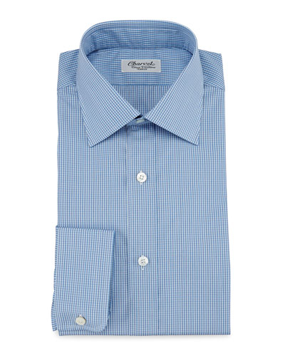 Micro-Check Barrel-Cuff Dress Shirt, Blue/Blue