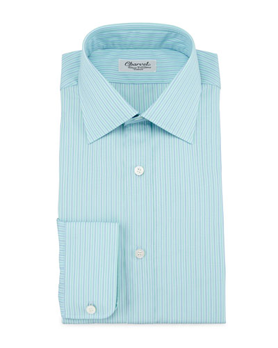 Striped Barrel-Cuff Dress Shirt, Green/Blue