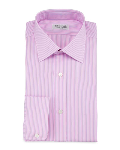 Striped Barrel-Cuff Dress Shirt, Pink/Blue