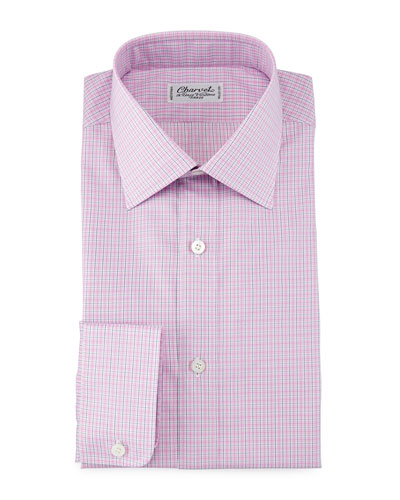 Check Barrel-Cuff Dress Shirt, Pink/Blue