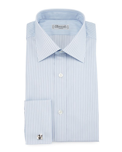 Striped Barrel-Cuff Dress Shirt, Light Blue
