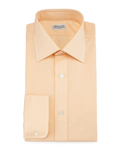 Micro-Houndstooth Barrel-Cuff Dress Shirt, Orange