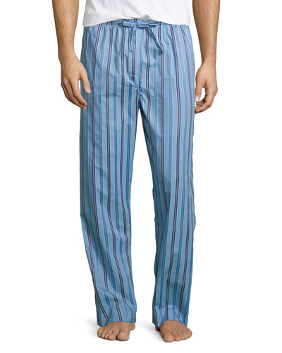 Satin-Striped Pajama Pants, Light Blue