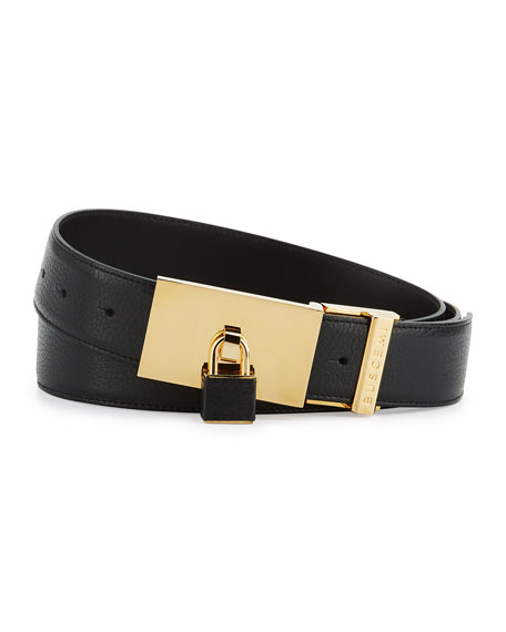 Very Buscemi 100mm Padlock-Buckle Leather Belt, Black OL17