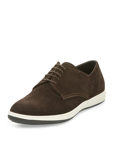 Perforated Suede Rubber-Sole Derby Shoe, Brown