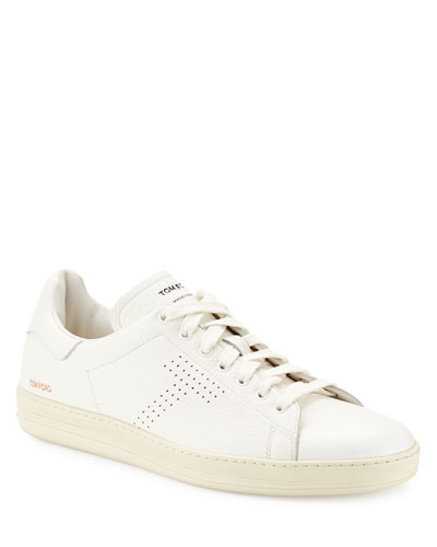 Warwick Grained Leather Low-Top Sneaker, White