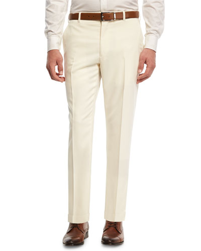 Gabardine Straight-Leg Pants, White
