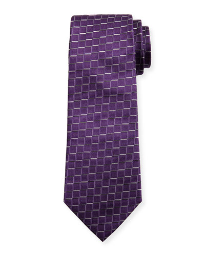 Medium Box Woven Silk Tie, Purple