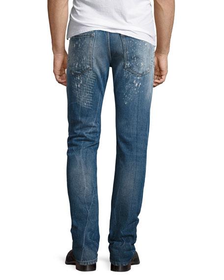 Just Cavalli Destroyed Straight-Leg Jeans, Blue