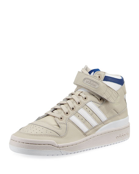 adidas mens forum leather mid top sneaker beige