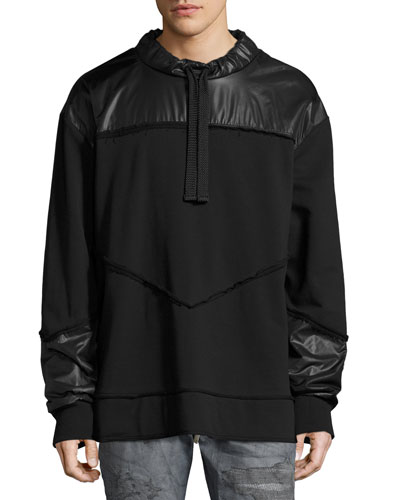 Mixed-Media Sweatshirt Jacket, Black