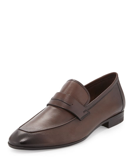 Lorenzo Calfskin Leather Loafer, Brown