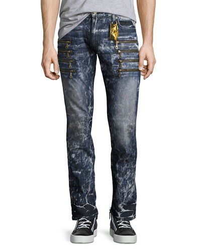 Marbled Zipper Moto Skinny Jeans, Dirty Blue