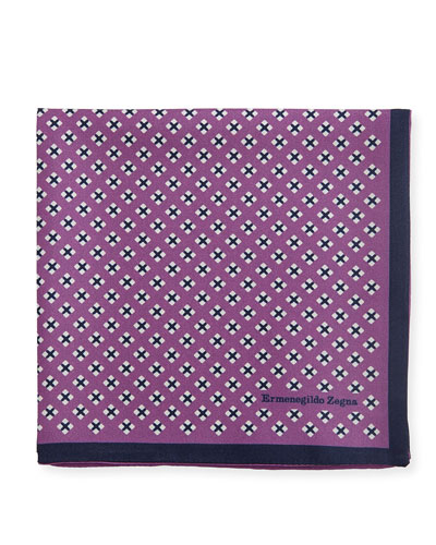 Geometric Cross Silk Pocket Square, Purple