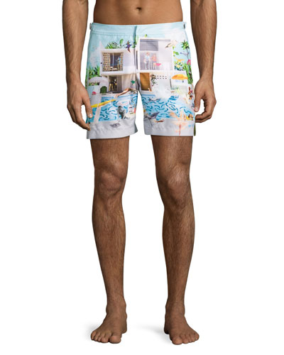 Bulldog Sandal Pool Printed Swim Trunks, Blue
