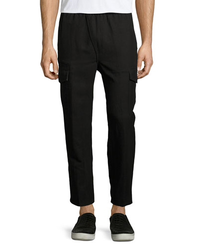 Asymmetric-Fly Linen-Blend Cropped Cargo Pants, Black