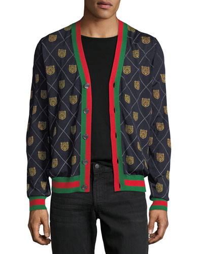 Tiger Argyle Wool Cardigan