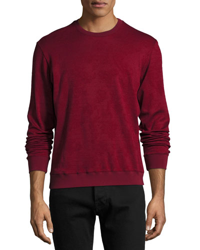 Tonal Jacquard Wool-Cotton Crewneck Sweater, Red