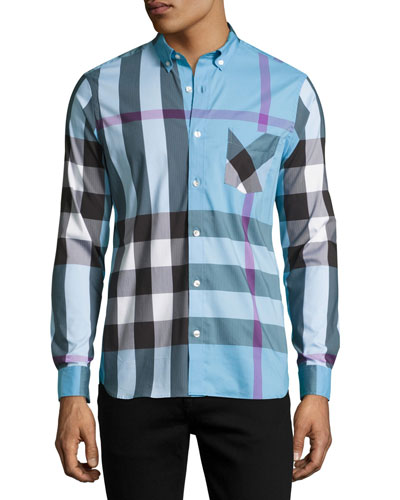 Thornaby Check Sport Shirt, Blue