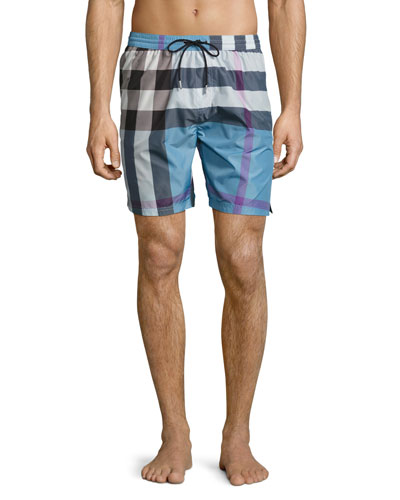 Gowers Check Swim Trunks, Blue