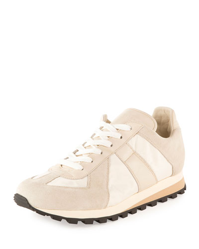 Men's Retro Runner Leather & Suede Sneaker, Ecru