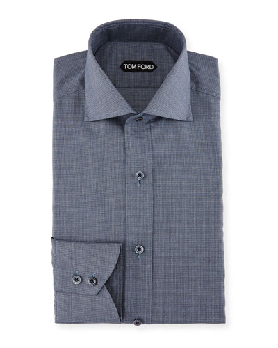 Slim-Fit Tonal Check Dress Shirt