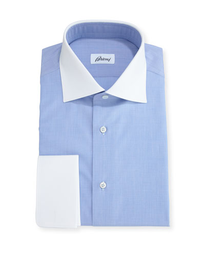 End-on-End Dress Shirt with Contrast Collar & Cuffs, Blue