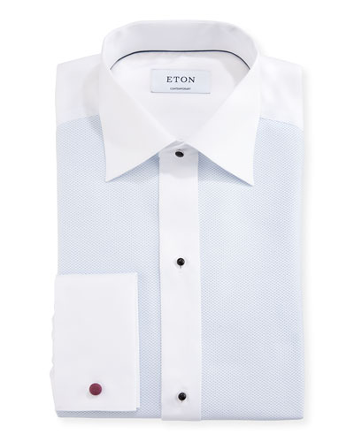 Contemporary-Fit Fancy Formal Shirt, White/Light Blue