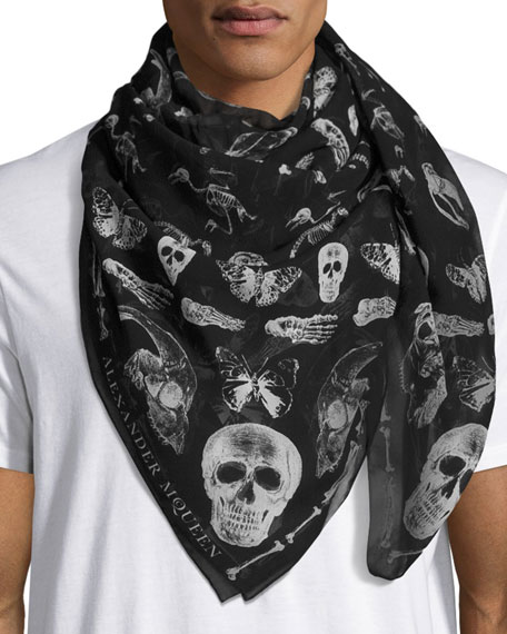 butterfly and skull print scarf - Black Alexander McQueen
