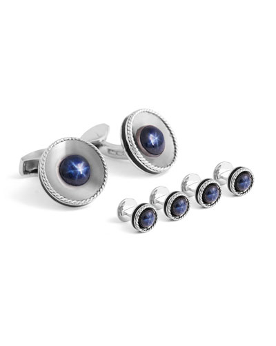 Limited Edition Sapphire & Sterling Silver Cuff Links and Stud Set