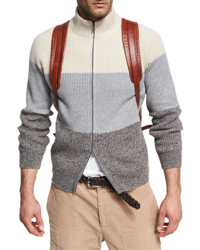 Donegal Colorblock Zip-Front Cardigan, Gray
