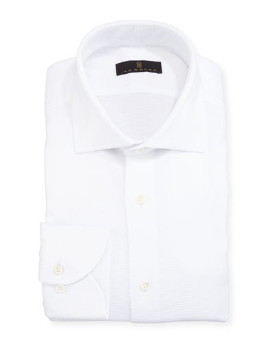 Gold Label Textured Cotton Dress Shirt, White