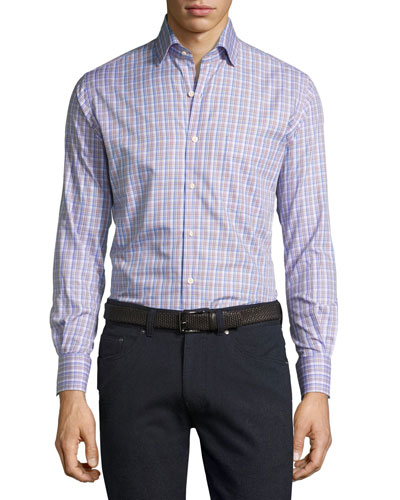 Crown Alpine Plaid Cotton Shirt, Purple