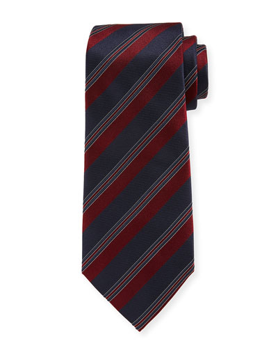 Wide Rep-Stripe Silk Tie