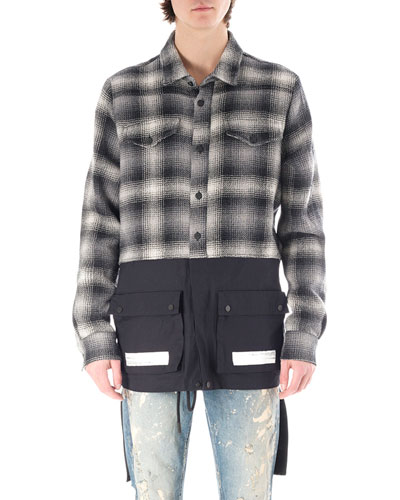 BLUE FLANNEL BLK SPLIT SHIRT
