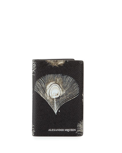 Peacock Feather Leather Pocket Organizer, Black/White