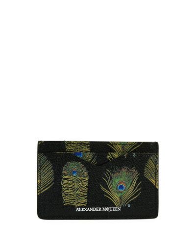 Peacock Feather Leather Card Case, Black/Multicolor