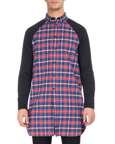 Long Plaid Raglan-Sleeve Shirt