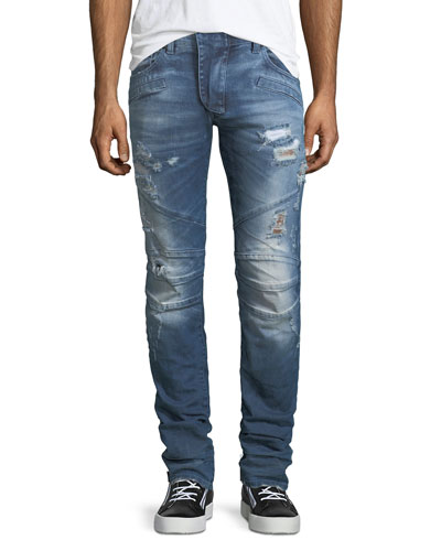 Distressed Skinny Moto Jeans, Darker Blue