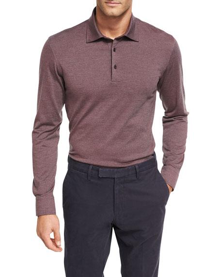 Ermenegildo zegna fine stripe wool cotton long sleeve polo for Long sleeve wool polo shirts
