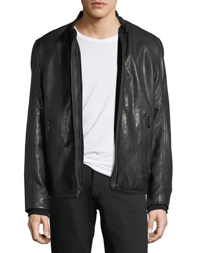 Lambskin Leather Cafe Racer Jacket