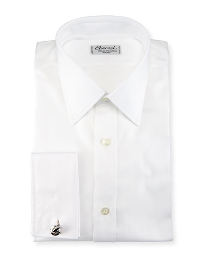 Herringbone French-Cuff Dress Shirt